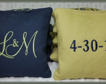 Cornhole Bags Embroidered Set of 8 Navy and Light Green Montey Font Wedding