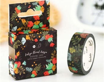 Floral Washi Tape, Black Background with Colorful Flowers and Leaves, 1 Roll Washi Tape Floral Tape