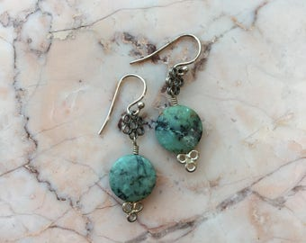African Turquoise and Bali Silver Earrings
