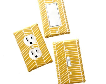Fabric Covered Light Switch Plate Cover - All Styles - Double, Triple, GFCI, Outlet, Slider, Rocker, Toggle - Mustard Yellow Chevron