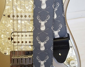 stag deer head gray hipster guitar strap