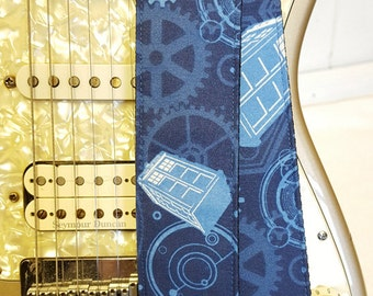 Tardis inspired blue gears guitar strap