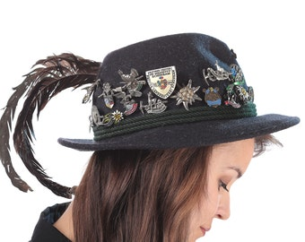 Bavarian Hunting Hat with 35 Pins and Pheasant Feathers 70s Wool Felt Traditional Octoberfest Accessories Faded Black Gift Idea Size Medium