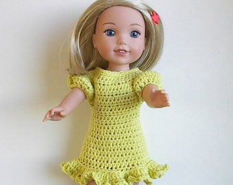 "14.5"" Doll Clothes Crocheted Yellow Dress Handmade to fit the Wellie Wishers doll and other similar dolls - Lemon Drop Dress Ready to Ship"