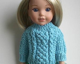 14.5 Inch Doll Clothes Knit Aran Blue Sweater Handmade to fit Wellie Wishers and similar dolls - Turquoise Irish Fisherman Buttons in Back
