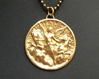 Epona Bronze Angel with Horses Pendant