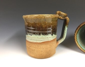 Turquoise and brown mug, handmade pottery, beer stein, ready to ship