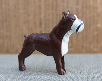 Vintage Boxer Dog Lead Animal Figurine Japan