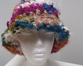 "blackfridaycybermonday multi color hat, brimmed, crocheted from sari scraps ""plush"""