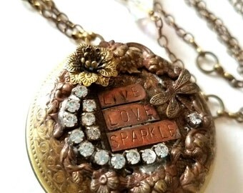 Live Love Sparkle large Locket Necklace