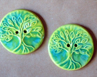 2 Handmade Ceramic Buttons in Spring Green - Extra Large Tree of Life Buttons - Focal buttons for Handmade Knits - Handmade Ceramic Buttons