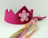 Wool Felt Crown and Wand -- silk and wool Fairy Child play set in berry with hand dyed wool flower and silk streamers