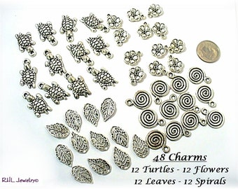 Jewelry Supplies, Lot Beading Supplies, Turtle Charms, Flowers Charms, Leaf Charms, Spiral Charms - S-63