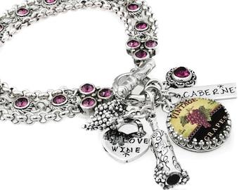 Wine Jewelry, Wine Lover, Wine Bracelet, Grape Jewelry, Wine Glass, Wine Bottle Charm