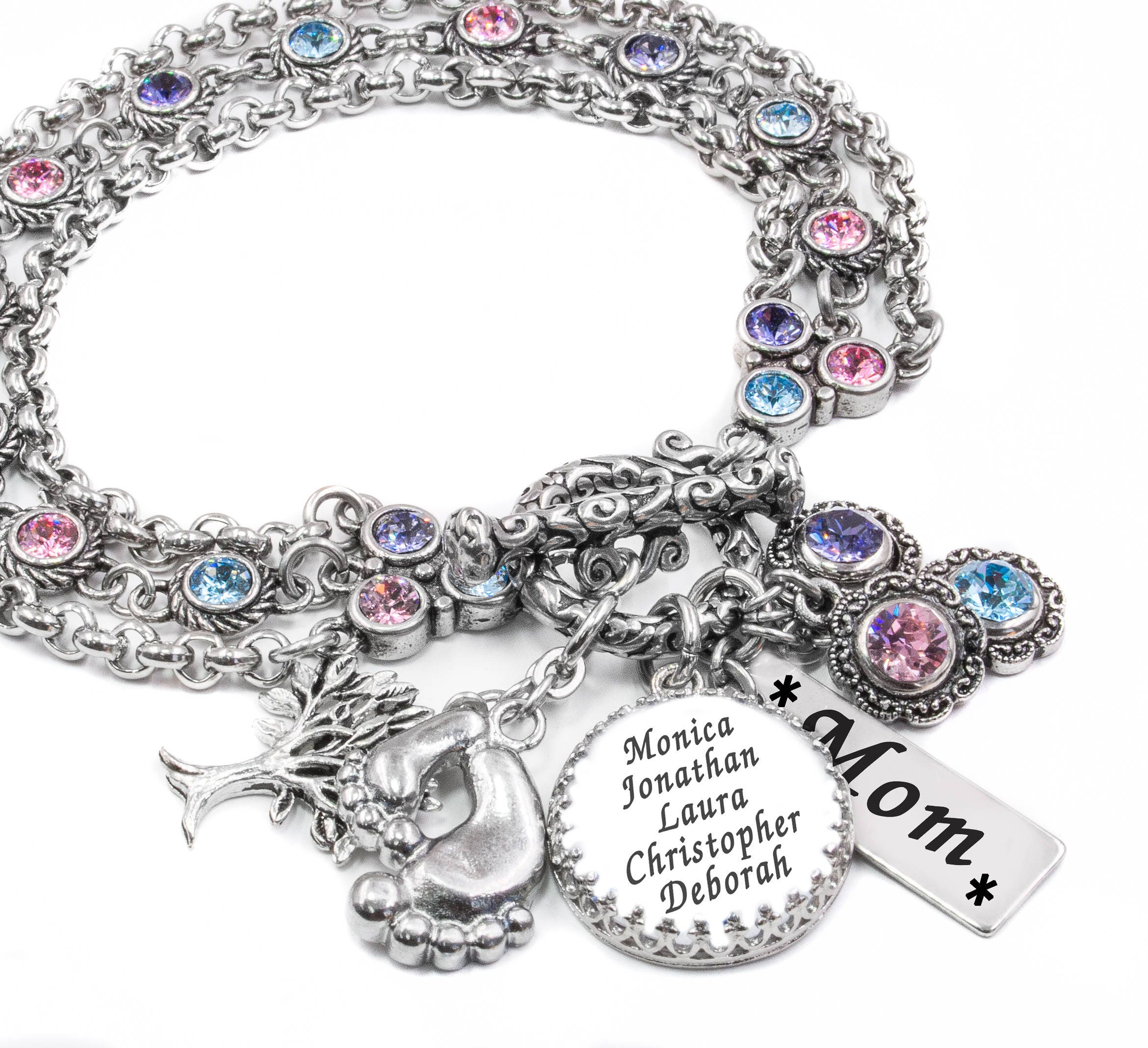 Mothers Charm Bracelet: Gifts For Mother Personalize Jewelry With Childrens Names