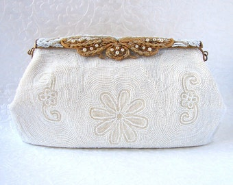 White Vintage Beaded Purse Wedding Handbag Flower Design Ornate Gold Frame Formal Evening Bag Marshall Field & Co Handmade Belgium Repaired