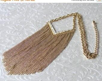 20% SALE Waterfall Necklace Chain Fringe Rhinestone Chevron Statement Jewelry Bohemian Chic 90s Vintage Cleavage Choker Bib 20 Inch Mesh Cha