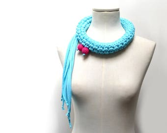 Crochet Statement Necklace - Turquoise Upcycled Jersey Yarn - Jersey Scarf Cowl - Crochet Jewelry - Textile Necklace