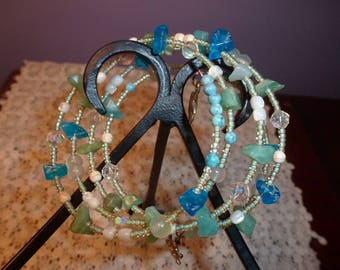 Handmade Memory Wire Bead Wrap Bracelet in Shades of the Ocean, Quality Glass Beads, Gemstone Beads, MOP Beads, Turtle Charm, Starfish Charm