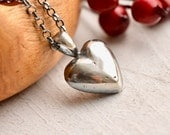 Hand Cast Silver Heart Necklace, Silver Heart Pendant, Handmade Metalwork, Modern Rustic Heart Jewelry