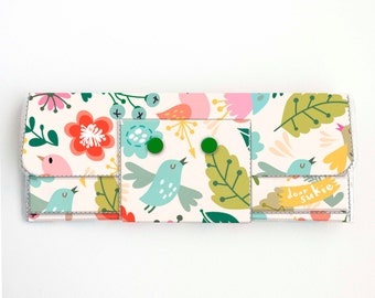 Handmade Vinyl Long Wallet - Amazing / bird wallet, floral, vegan, large wallet, clutch, zipper, card case, vinyl wallet, flowers,