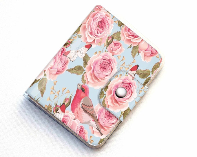Vinyl Passport Case - Vintage Roses 1 / traveler, passport, adventure, gift, vinyl, woman's, wallet, bird, floral, roses, pretty, polka dot