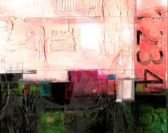 """Modern Abstract Painting, text art, Original Large Mixed Media Abstract  Painting on canvas """"Urban Passages"""" by Kathy Morton Stanion EBSQ"""