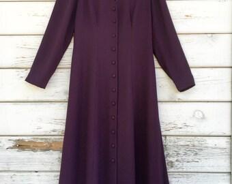 Vintage 90s long coat,SALE ,dress,burgundy,stylish,maxi,geometric,fall,dressy,festive,casual,elegant,Edwardian era inspired,buttoned,eggplan