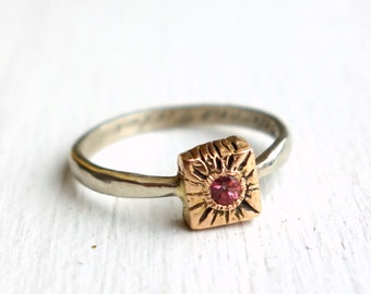 Pink Sapphire Cube Ring- 18k Rose and 14k White Gold Ring