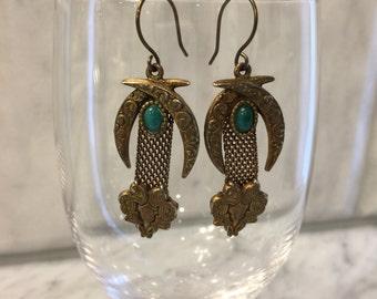 Vintage bracelet parts green and bronze repurposed earrings