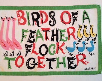 CARL TAIT Birds of a Feather Flock Together Vintage Cocktail Napkin to Frame Linen