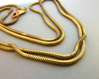 Snake Chain Necklace - Complete - Vintage Brass 36 inches
