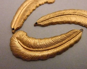 2 Large Vintage Brass Feather Stampings