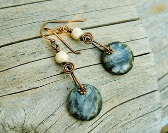Marble drops earrings with antiqued copper - earthy stone dangle earrings with marble disk dangles