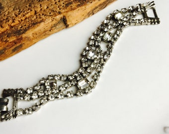 REDUCED Rhinestone Bracelet, Bridal Bracelet, Vintage Bracelet, Hollywood Glam, Hollywood Regency