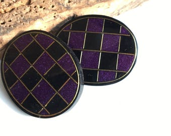 MARCH MADNESS SALE Vintage Checkered Purple and Black Earrings, Clip Ons, Oval Shaped, 80's Earrings, Big Earrings, New Old Stock