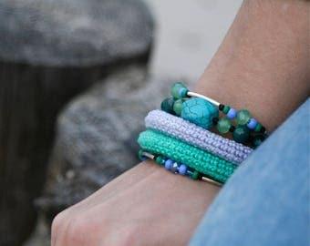 crochet memory wire bracelet - stacked bangles - wrap bracelet  - beaded bracelet