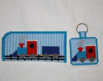 Train eyeglass case and key chain