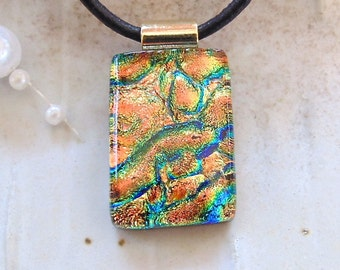 Petite Dichroic Pendant, Glass Pendant, Fused Glass Jewelry, Copper, Gold, Blue, Necklace Included, A2