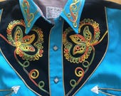 Vintage Western Shirt by Cowboy Joe Las Vegas Turquoise Variegated stitched ornamentation Smile Pockets & Snaps