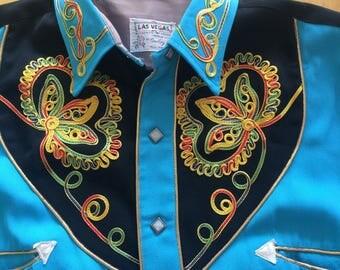 Vintage Western Shirt by Cowboy Joe Las Vegas Turquoise Variegated stitched ornamentation Smile Pockets & Snaps
