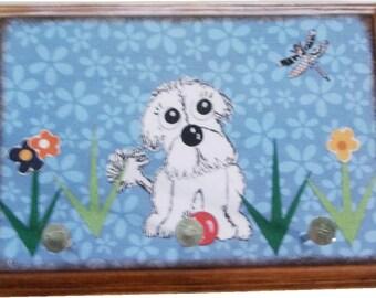 Dog Leash Holder, Hanger, Hook, Key Holder, Hanger, Hook, Wall Hanging Plaque, Nursery Baby's Room, Bishon Frise Puppy, 5x7, MADE TO ORDER