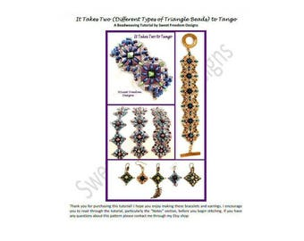 Tango Tutorial 2-hole Beads Bracelet 2-hole Triangle Pattern Beadweaving Superduo Pyramid .pdf Instructions Personal Use Jewelry Earrings