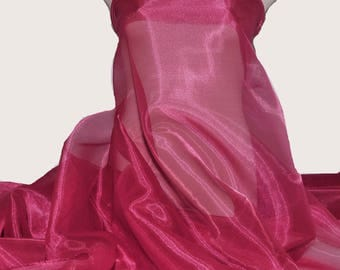 "Iridescent Organza fabric 60"" wide.. sheer, Fuchsia 917.. formal wear, bridal, pageant, crafts, costumes, home decor"