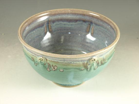 Handmade serving bowl Stoneware pottery bowl cerial bowl turquoise glaze