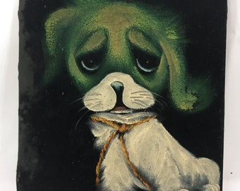 vintage painting on back velvet sad green and white puppy dog big eyes tied with a rope