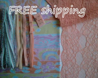 FREE Ship DIY Fabric + Notions Pastel Strips & Apricot for 1 BRA + Panty by Merckwaerdigh