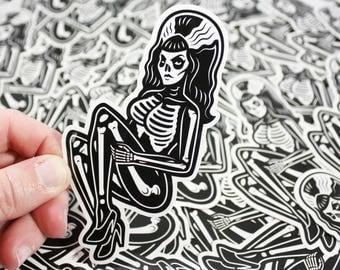 """Drop Dead Skeleton Pinup Girl Vinyl Sticker - 4.5"""" Diecut Weatherproof Sticker Indoor/Outdoor"""