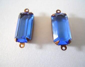 Pair Vintage Swarovski Montana Blue Stone Baguette 16 mm x 8 mm