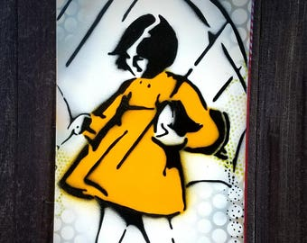 "Morton Salt Girl Original Graffiti Art Painting on Canvas 12"" x 24"" Stencil Pop Art Salt Girl Home Decor Kitchen Art"